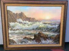 "ORIGINAL SEASCAPE PAINTING BY ROBERT WEE SIGNED LISTED CA ARTIST 40"" X 30"""
