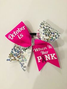 Breast Cancer Awareness Sequin Cheer Bow