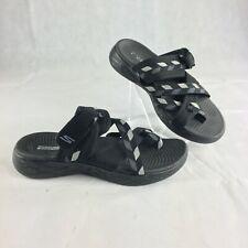Skechers Goga Mat Womens Black Gray Geometric Strappy Sandals Sz 7