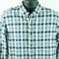 NEW J Crew Factory Slim Fit Homespun Plaid Shirt Mens size L Large Blue Gingham