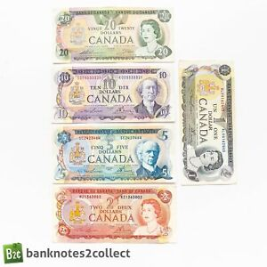 CANADA: Set of 5 Canadian Dollar Banknotes.