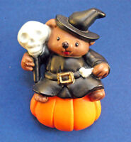 Easter Uunlimited PIN Halloween Vintage BEAR WITCH SKULL PUMPKIN Holiday Brooch