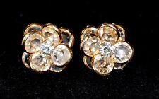 Brilliant Vintage Clear Bezel Set SWAROVSKI Crystal Pierced Earrings