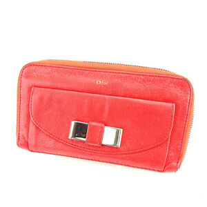 Chloe Wallet Purse Long Wallet Red Silver Woman Authentic Used K429