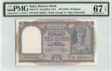 India Nd (1943) P-24 Pmg Superb Gem Unc 67 Epq 10 Rupees