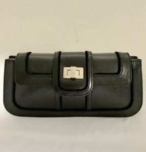 "LAMBERTSON TRUEX Black Textured Leather Clutch Silver Logo'd Toggle  11"" x 5"""