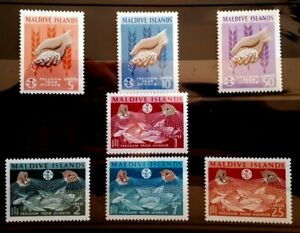 1963 Maldive Islands Full Set Of 8 Stamps - Freedom From Hunger - UN/VLH cv £23