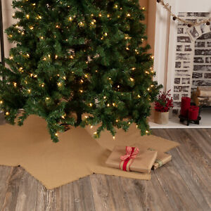 VHC Brands Farmhouse 48 in Tree Skirt Tan Christmas Burlap Natural Holiday Decor