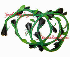 Real LEATHER Whip Black ROSE Vine on Green LASSO ROPE Ruff Doggie Bedroom Toy