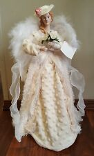"""Victorian Angel Christmas Tree Topper Feather Wings 18""""  Shabby Chic Table Top"""