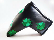 NEW BLACK GREEN SHAMROCK CLOVER LIMITED PUTTER HEAD COVER FOR SCOTTY CAMERON