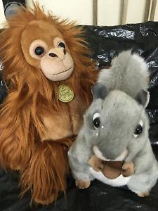 2 NWOT MIYONI TOTS stuffed animals by Aurora,squirrel,baby orangutan