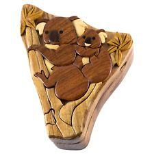 Wood Intarsia Koalas Puzzle Box - Secret Trinket Box Inside! Handcrafted New