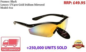 RayZor Black Sports Wrap Sunglasses Uv400 Gold Iridium Mirrored Lens RRP£49 (612