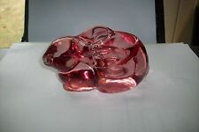 Cranberry Indiana Crystal Glass Rabbit Candle Holder ,Paper Wieght,decoration