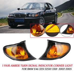 1 Pair Amber Lens Turn Signal Indicator Corner Light For BMW E46 325i 325Xi 330i