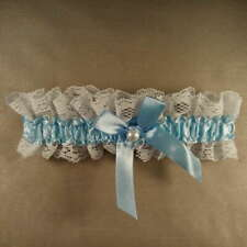 Wedding Garter Bride Bridal - Lace - Something Blue - Bow with Pearl