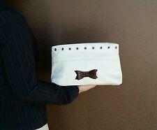 White Off leather clutch  - casual bag - unique bow handmade handbag ivanna