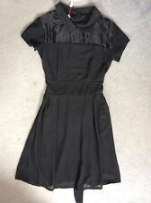 Topshop Black Evening Dress With Short Sleeves Sheer Yoke & Pleat Skirt -s