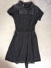 TOPSHOP BLACK EVENING DRESS WITH SHORT SLEEVES, SHEER YOKE & PLEAT SKIRT -S BNWT