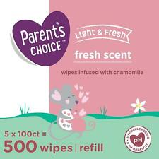 Parents Choice Fresh Scent Baby Wipes, 5 Packs of 100 (500 Count)