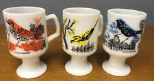 3 Vintage Milk Glass Footed Bird Cups Mugs Blue Warbler Vireo Wood Thrush