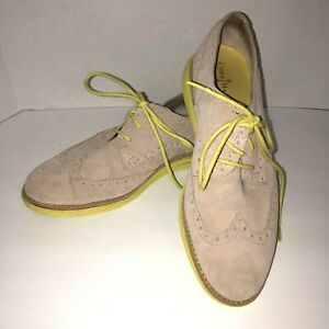 Cole Haan Women's Shoes Size 7.5 B Alisa Oxford Beige Neon Lime Suede Wingtip