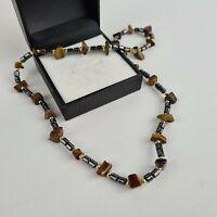 "Mens Ladies 18"" Tigers Eye Chip Hematite Bead Gemstone Necklace Handmade"