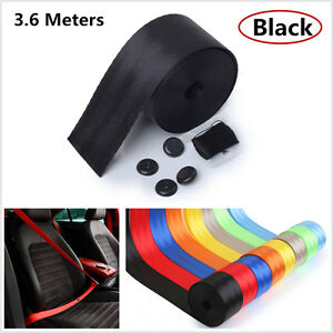 Black Harness Racing Car Seat Lap Belt Front 3Point Safety Seat Belt Retractable