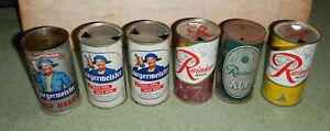 6 old vintage flat top beer cans