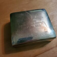 New listing Vintage Silver Plated Cigarette Box Engraved W/Wood Lining Poole Silver Co 1956