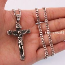 Men Stainless Steel Pendant Silver Cross Jesus ID Curb Cuban Link Chain Necklace