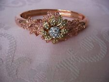 NOLAN MILLER Parc de Bagatelle Rose Gold Flower Bangle Bracelet - S/M - NEW