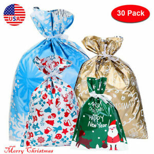 30PCS Large Christmas Gift Bag Party Candy Bags Cookie Wrapping Decor Pouch US