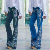Women Embroidery Destoryed Flare Jeans Button Waist Bell Bottom Denim Pants