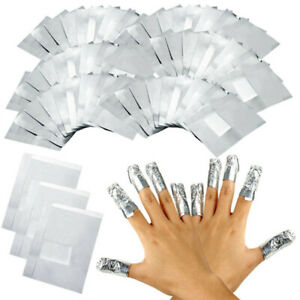 200 × Nail Art Aluminium Foil Soak Off Acrylic Gel Polish Nail Wraps Remover