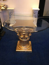 Glastisch Designer Esstisch Barock Säulen Wohntisch Stuckgips 6030 k50 Gold Rund