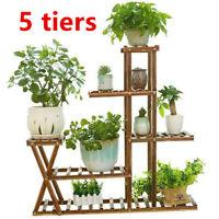 5 Tier Wooden Plant Flower Pot Stand Display Shelf Garden Indoor Outdoor Patio