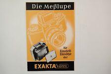 Reklame Prospekt - EXAKTA Varex - Die Messlupe - DDR Kamera
