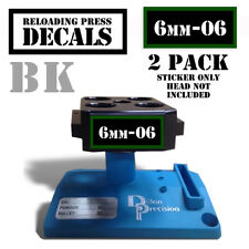 "6mm-06 Reloading Press Decals Ammo Labels 1.95"" x .87"" Sticker 2 Pack BLK/GRN"