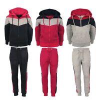 Girls Tracksuit Kids Hooded Hoodie Fleece Top Pants Suit Joggers Sports Sizes