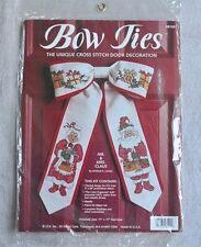 NIP Bow Ties Cross Stich Door Decoration Kit Christmas Craft  Mr & Mrs Claus JCA