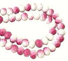 120 Celestial Crystal Opaque Pink White Vintage Finish 8x6mm Rondelle Beads