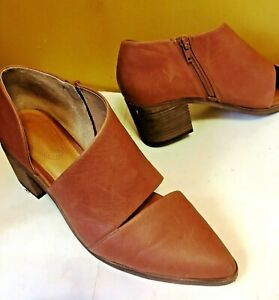 Corso Como Kammy Brown Bootie Heel  Cut Out  Leather Shoes Side Zip Size 9.5