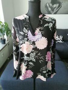 Amisu Bluse schwarz mit Blumen Gr. S / M