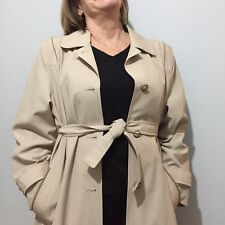 True Vintage 80s Beige Stone Belted Midi Mac Trench Coat Jacket Size 10 12 M