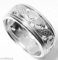 18kt  White Gold Plated Hearts  Wedding Band Ring Size 9