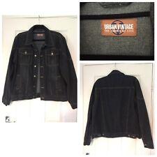 Urban Vintage Denim Mens Jacket Black Size Medium M (A319)