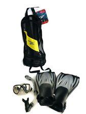 New listing Speedo Dive Hydroscope Mask Snorkel Fin Set W/Mesh Carry Bag Size L/XL Slate