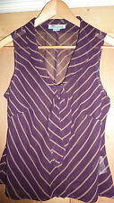 MONSOON UK 14 Top Blouse BROWN GOLD Silky LARGE Smart Chic RARE NEW LTD FAB!!!